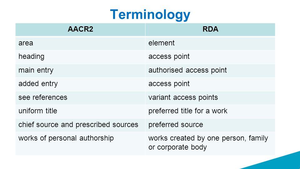 Terminology AACR2RDA areaelement headingaccess point main entryauthorised access point added entryaccess point see referencesvariant access points uni