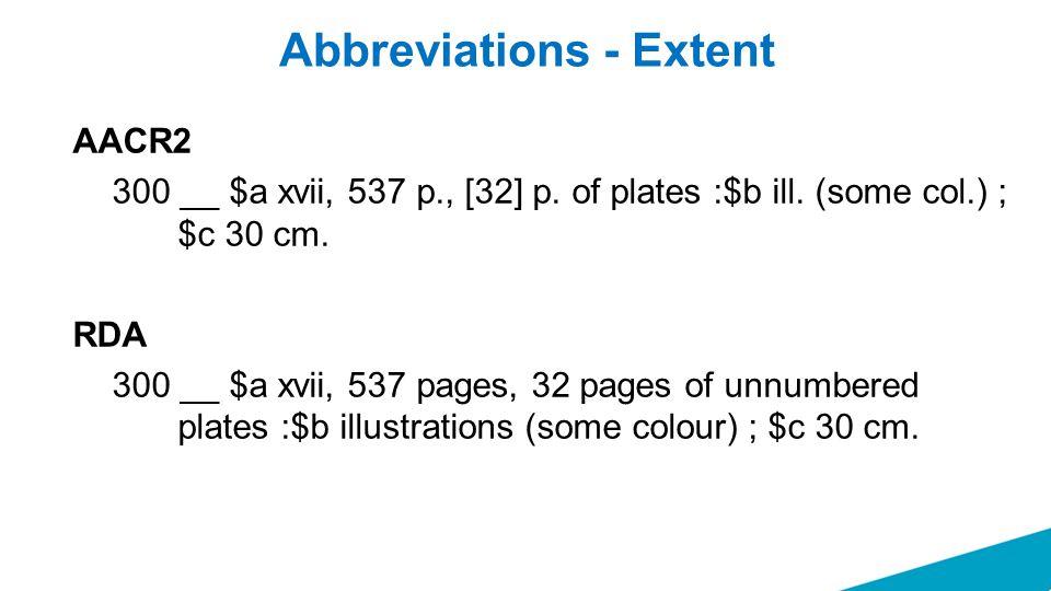 Abbreviations - Extent AACR2 300 __ $a xvii, 537 p., [32] p.