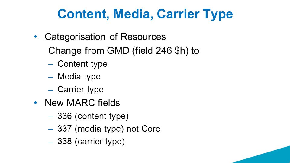 Content, Media, Carrier Type Categorisation of Resources Change from GMD (field 246 $h) to –Content type –Media type –Carrier type New MARC fields –336 (content type) –337 (media type) not Core –338 (carrier type)