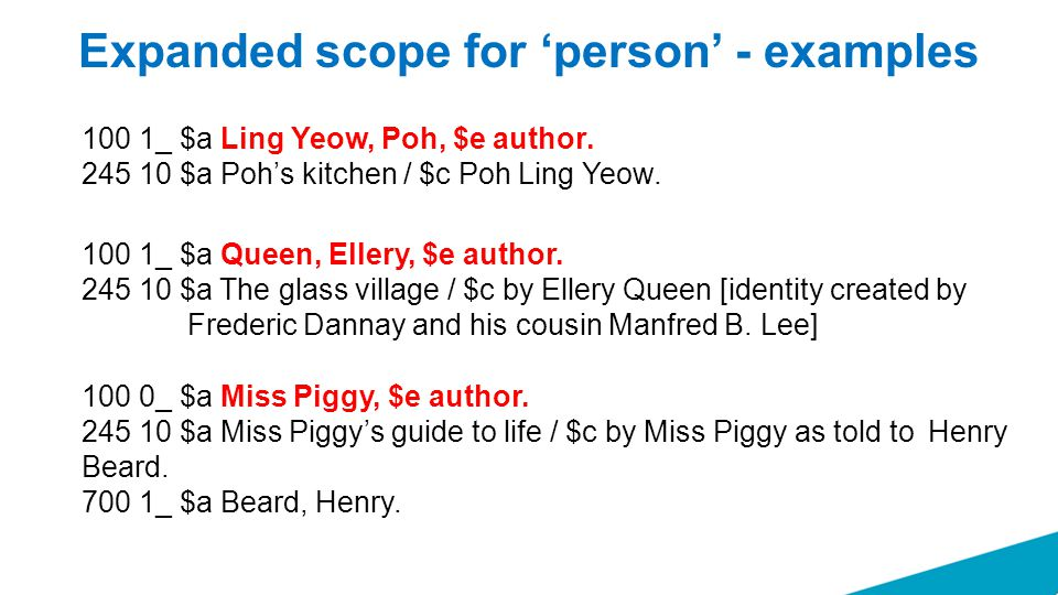 Expanded scope for 'person' - examples 100 0_ $a Miss Piggy, $e author. 245 10 $a Miss Piggy's guide to life / $c by Miss Piggy as told to Henry Beard