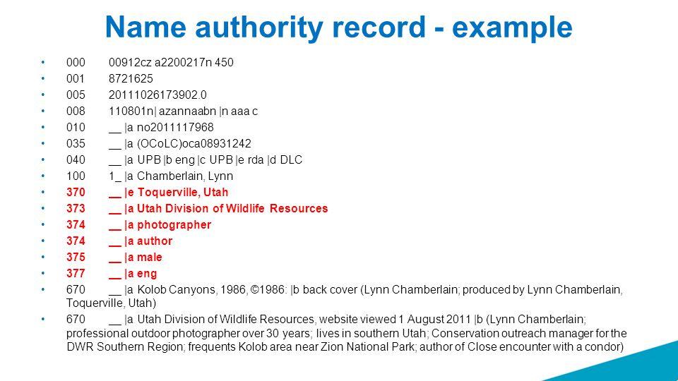 Name authority record - example 000 00912cz a2200217n 450 001 8721625 005 20111026173902.0 008 110801n| azannaabn |n aaa c 010 __ |a no2011117968 035
