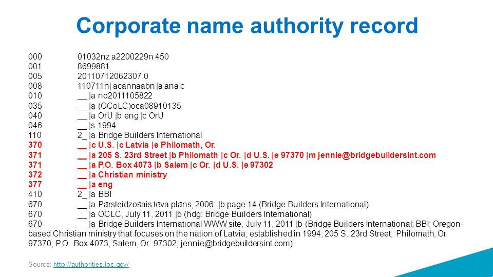 Corporate name authority record 000 01032nz a2200229n 450 001 8699881 005 20110712062307.0 008 110711n| acannaabn |a ana c 010 __ |a no2011105822 035 __ |a (OCoLC)oca08910135 040 __ |a OrU |b eng |c OrU 046 __ |s 1994 110 2_ |a Bridge Builders International 370 __ |c U.S.