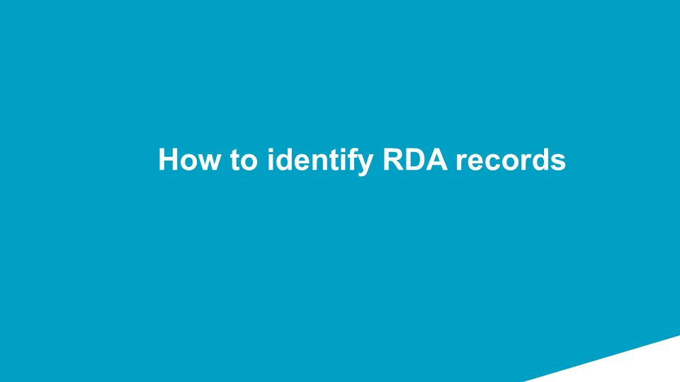 How to identify RDA records