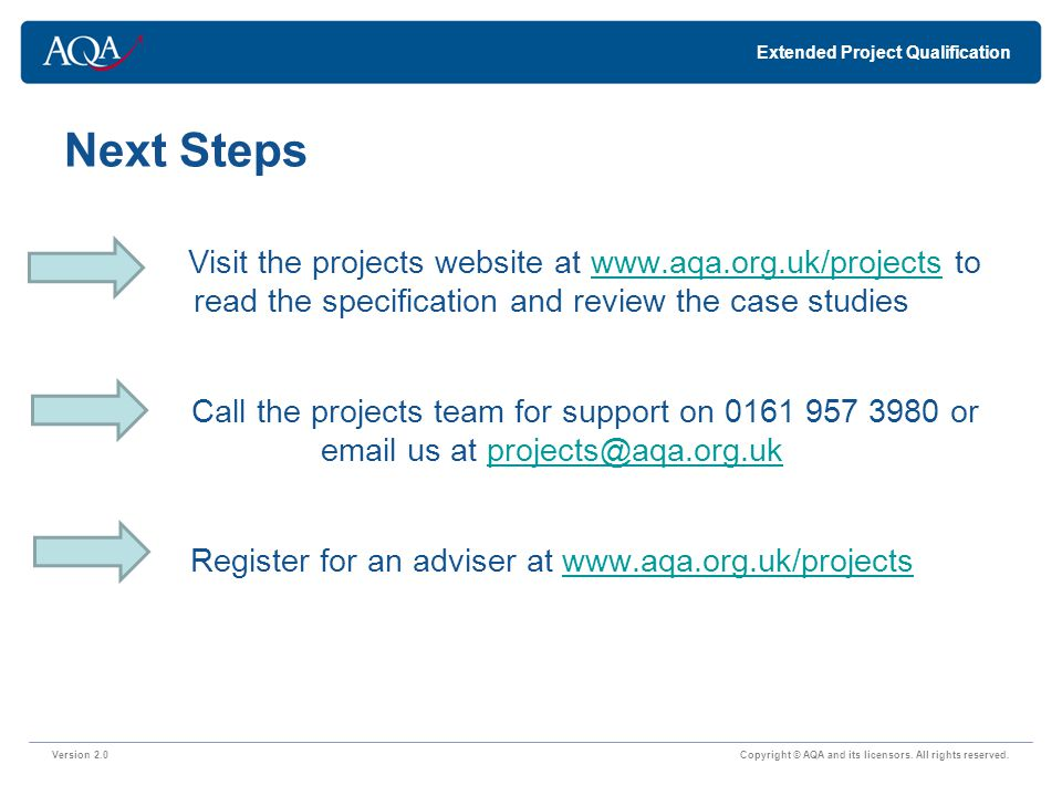 Next Steps Version 2.0 Copyright © AQA and its licensors.