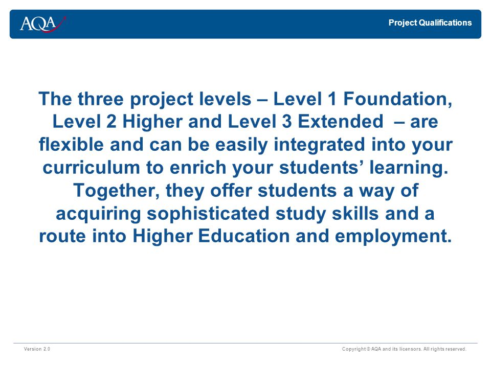 Foundation Project – Level 1 Version 2.0 Copyright © AQA and its licensors.
