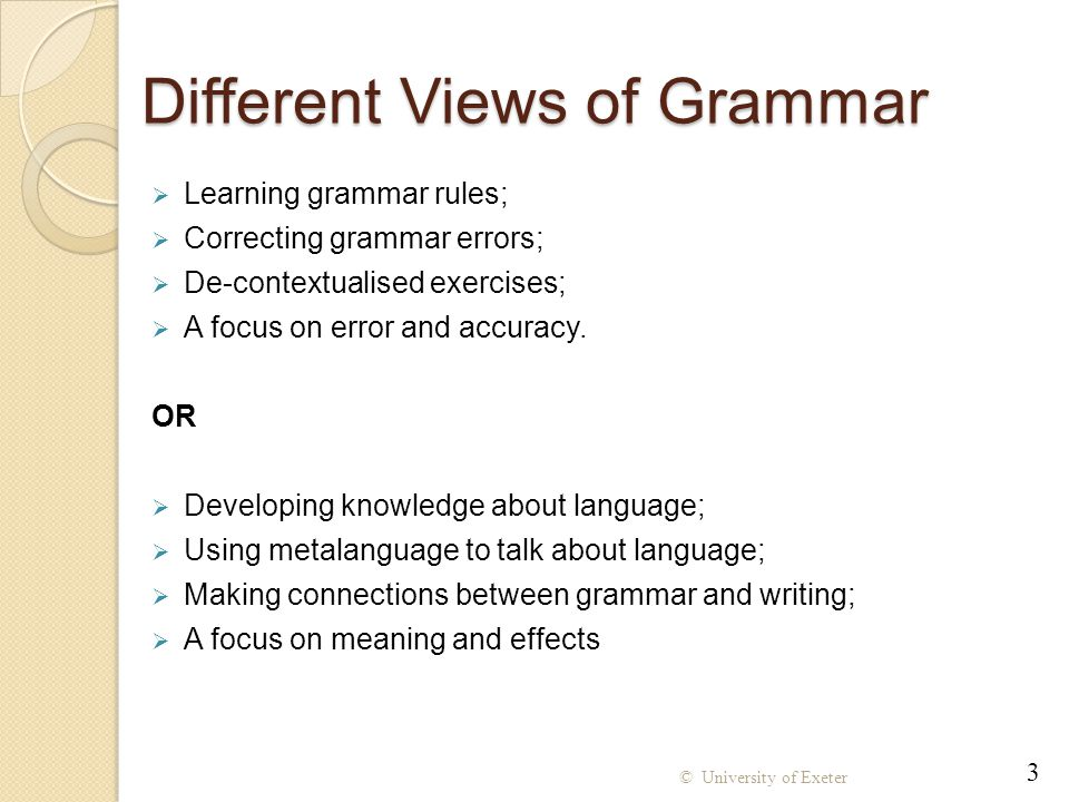 Using Grammatical Metalanguage Grammatical metalanguage is used, but it is explained through examples Hearing the terminology used in relevant contexts may support learning; Being able to use the terminology allows for more succinct talk about writing but the terminology may be a barrier for some students; Providing examples allows students to access the structure and discuss its effect even if they don't remember the grammatical name.
