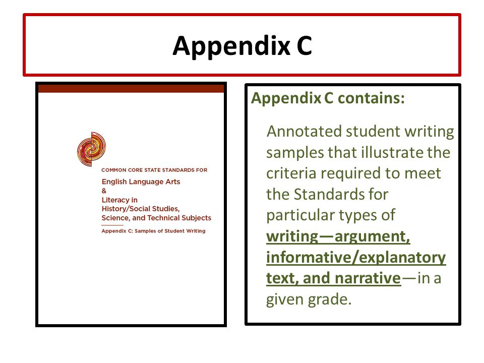 Appendix C Appendix C contains: Annotated student writing samples that illustrate the criteria required to meet the Standards for particular types of writing—argument, informative/explanatory text, and narrative—in a given grade.