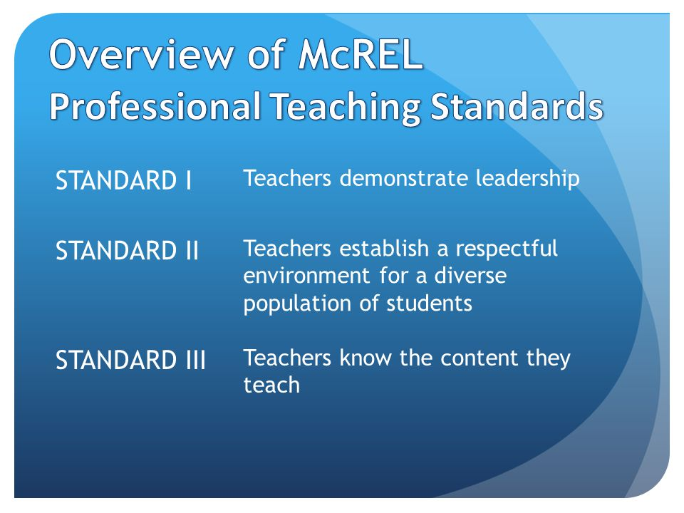 STANDARD I Teachers demonstrate leadership STANDARD II Teachers establish a respectful environment for a diverse population of students STANDARD III Teachers know the content they teach