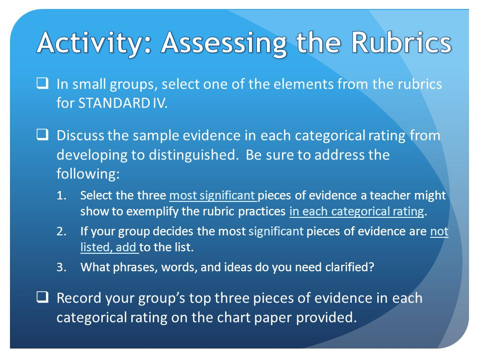  In small groups, select one of the elements from the rubrics for STANDARD IV.
