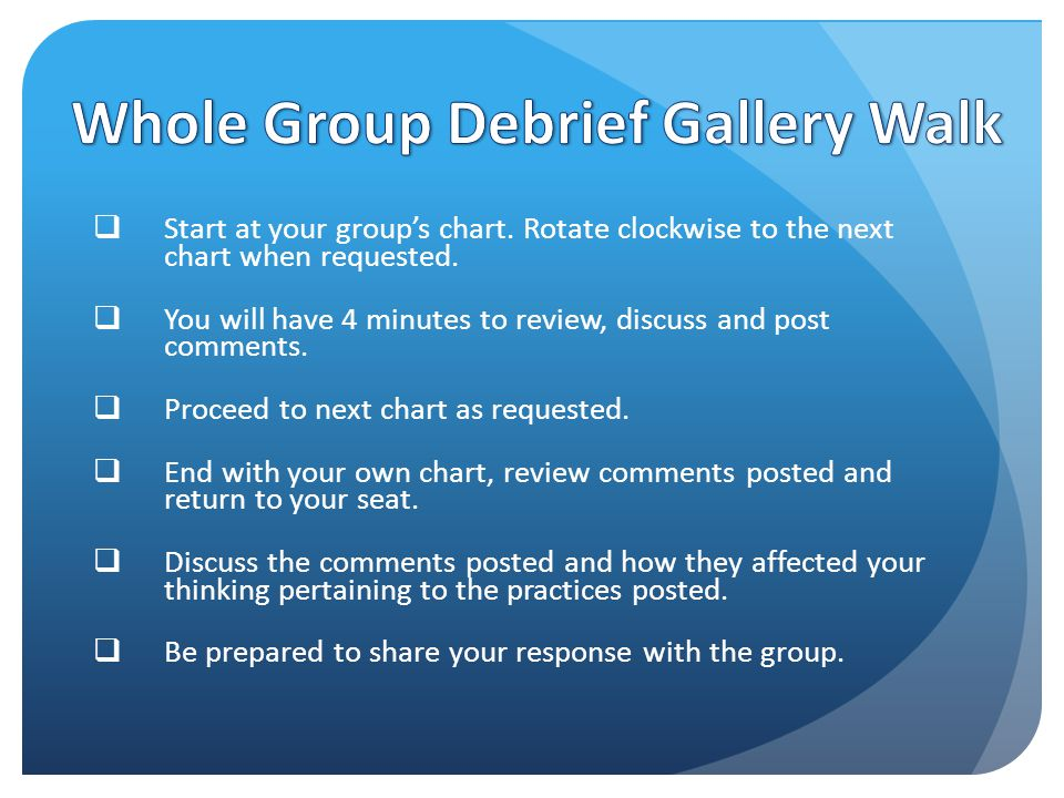  Start at your group's chart. Rotate clockwise to the next chart when requested.