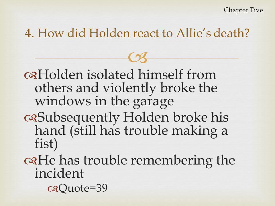   Homage to Allie's life  Reminder to Holden of the unique attributes of Allie's personality  Loss of innocence/childhood  Coping with death/depression 5.
