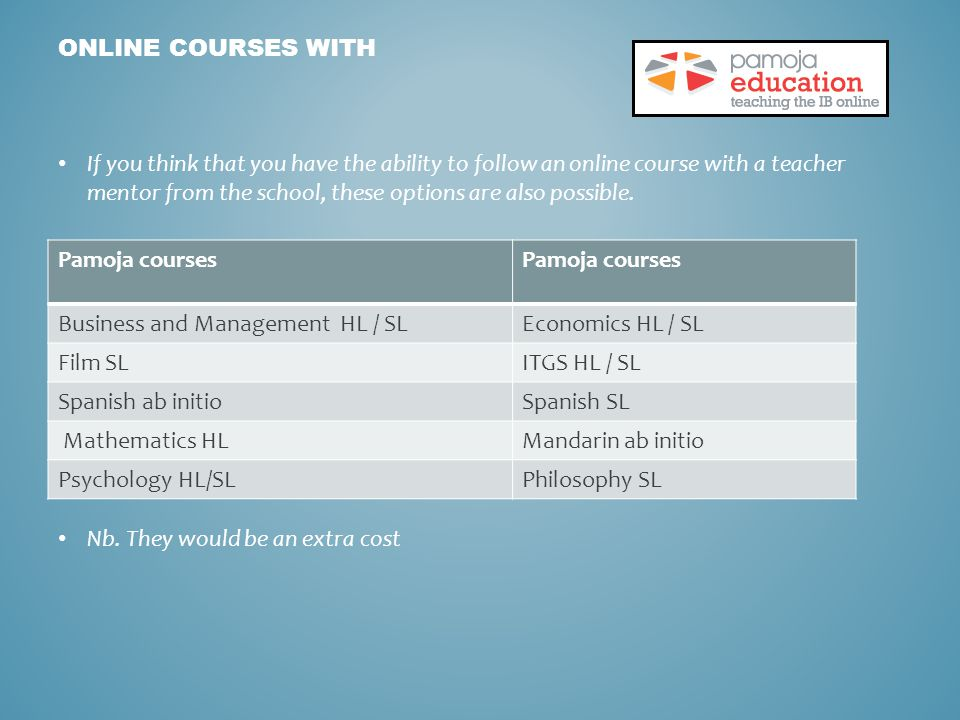 If you think that you have the ability to follow an online course with a teacher mentor from the school, these options are also possible.