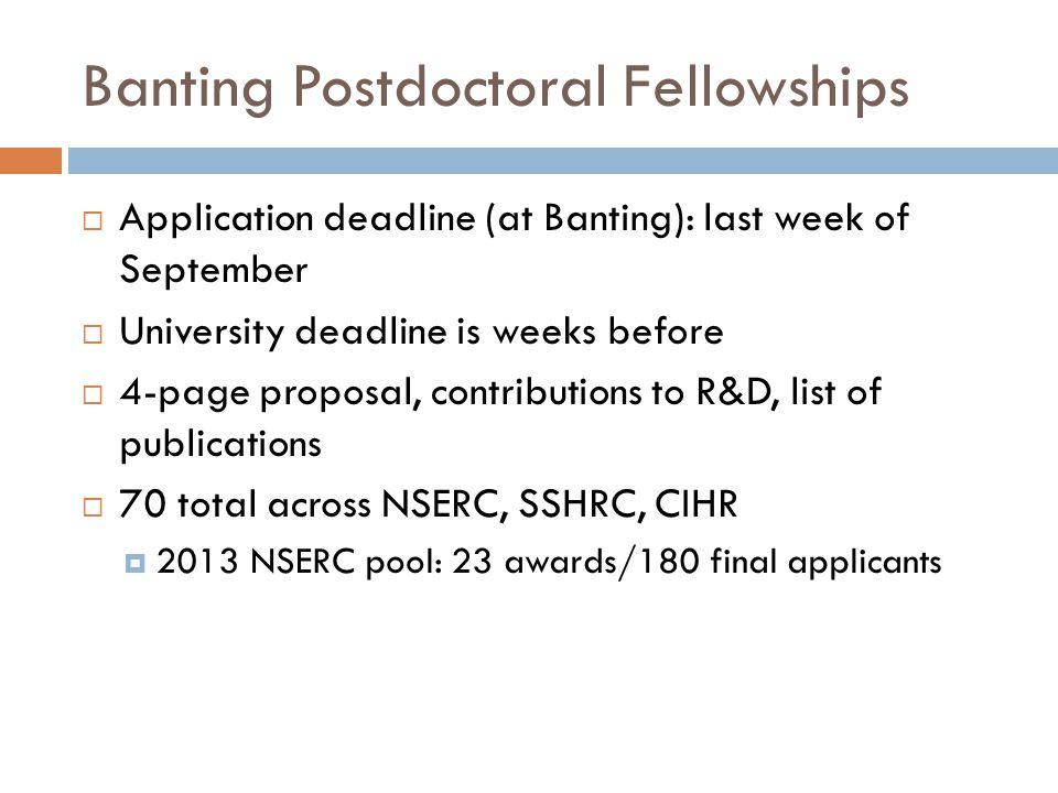 Banting Postdoctoral Fellowships  Application deadline (at Banting): last week of September  University deadline is weeks before  4-page proposal,