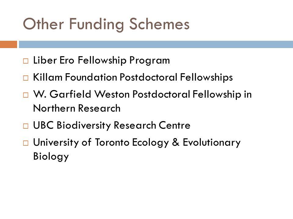 Other Funding Schemes  Liber Ero Fellowship Program  Killam Foundation Postdoctoral Fellowships  W. Garfield Weston Postdoctoral Fellowship in Nort