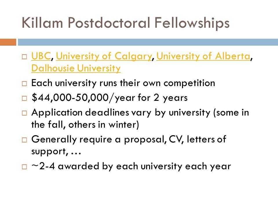 Killam Postdoctoral Fellowships  UBC, University of Calgary, University of Alberta, Dalhousie University UBCUniversity of CalgaryUniversity of Albert
