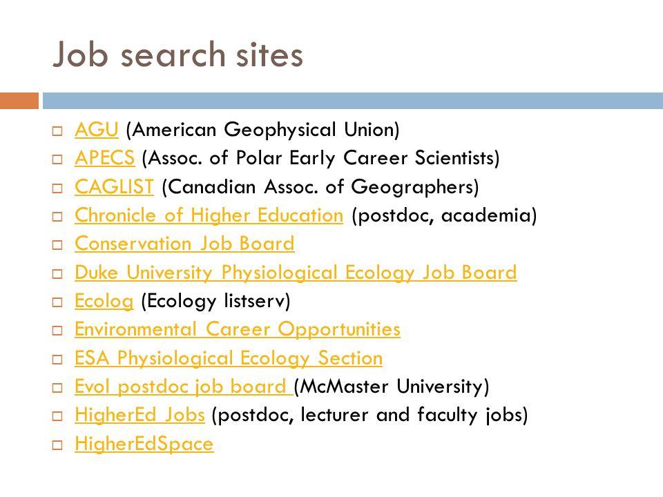 Job search sites  AGU (American Geophysical Union) AGU  APECS (Assoc. of Polar Early Career Scientists) APECS  CAGLIST (Canadian Assoc. of Geograph