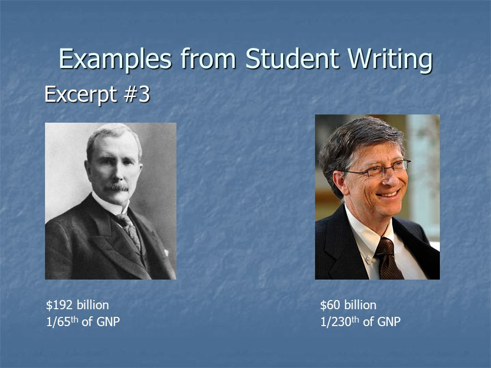 Examples from Student Writing Excerpt #3 $192 billion$60 billion 1/65 th of GNP1/230 th of GNP