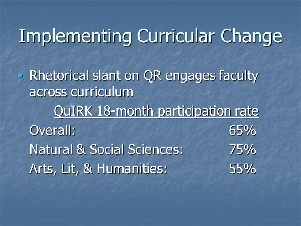 Implementing Curricular Change Rhetorical slant on QR engages faculty across curriculum Rhetorical slant on QR engages faculty across curriculum QuIRK