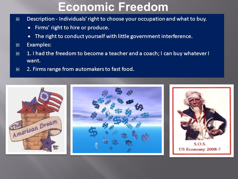 Economic Freedom Competition Private Property Rights Self-InterestVoluntary Exchange Description Profit Motive Description American Free Enterprise Example 1.