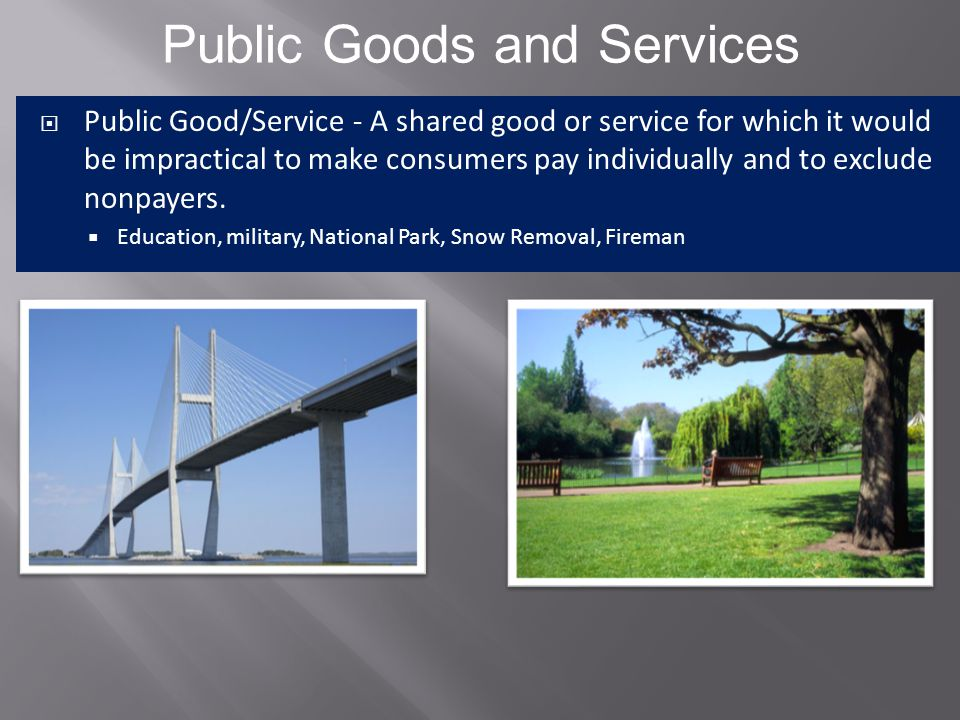  Public sector- the part of the economy that involves the goods provided by the government  Private sector- the part of the economy that involves the goods provided by private firms Government as a Provider