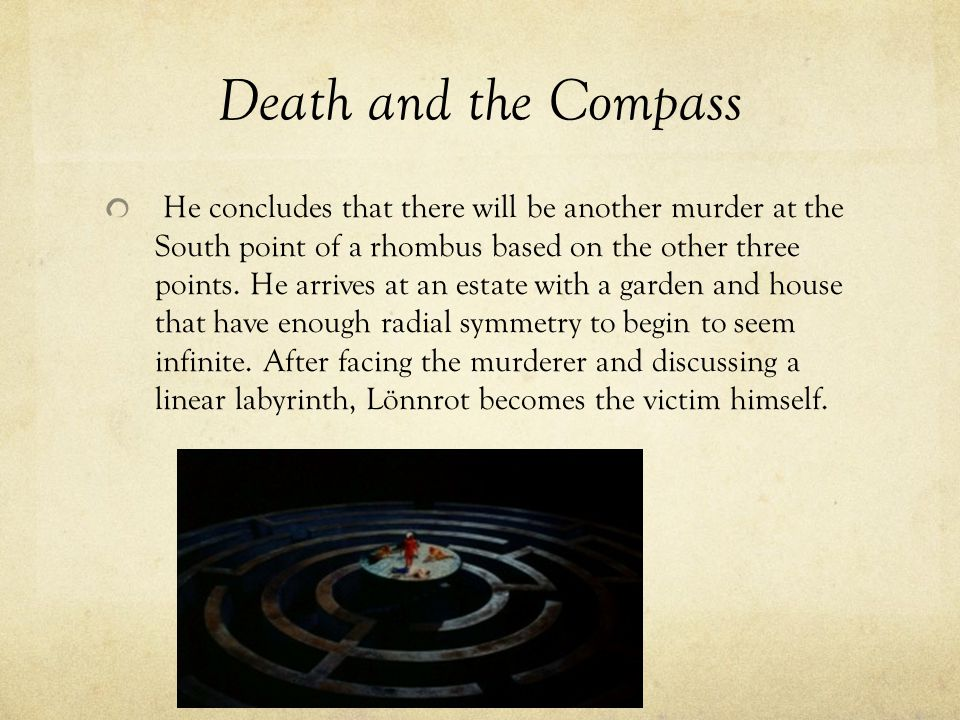 Death and the Compass He concludes that there will be another murder at the South point of a rhombus based on the other three points.