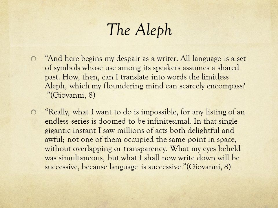 The Aleph And here begins my despair as a writer.