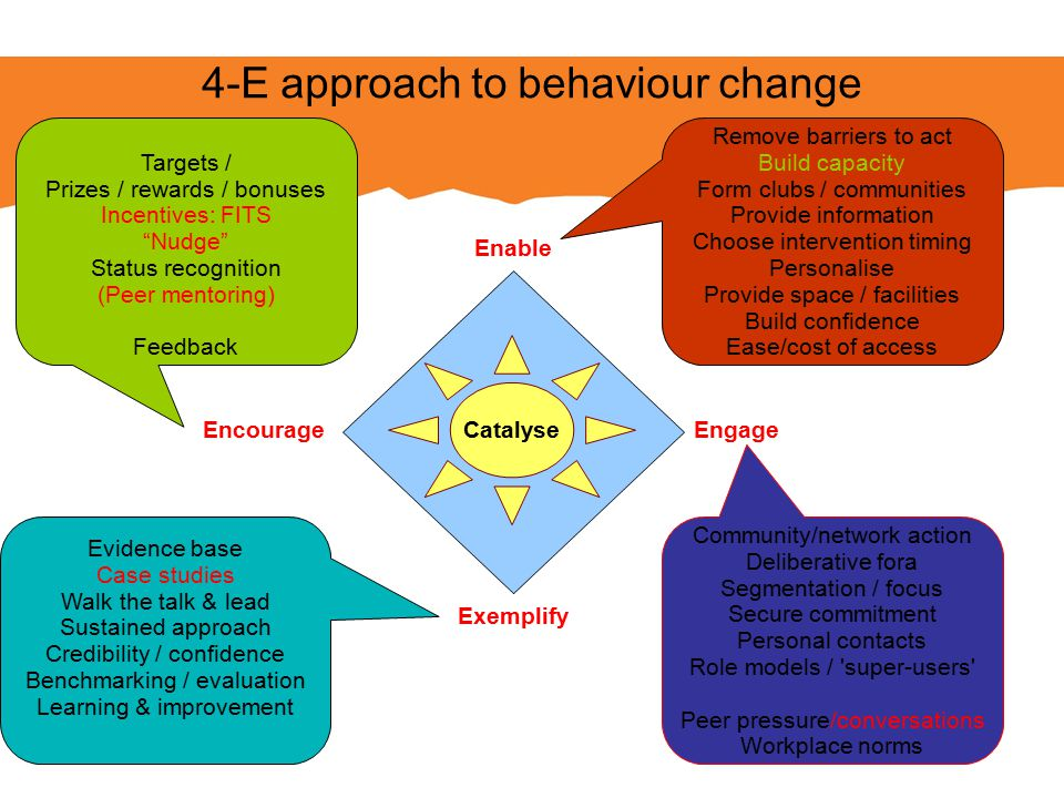 """Encourage Enable Engage Exemplify Catalyse 4-E approach to behaviour change Targets / Prizes / rewards / bonuses Incentives: FITS """"Nudge"""" Status recog"""