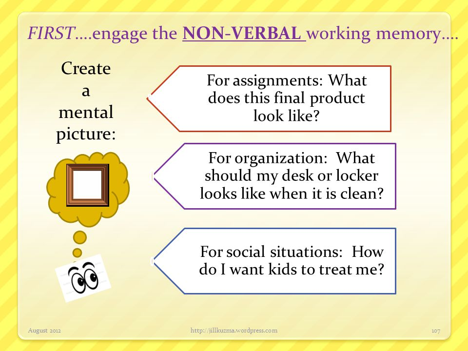 FIRST….engage the NON-VERBAL working memory.... August 2012http://jillkuzma.wordpress.com107 For assignments: What does this final product look like?