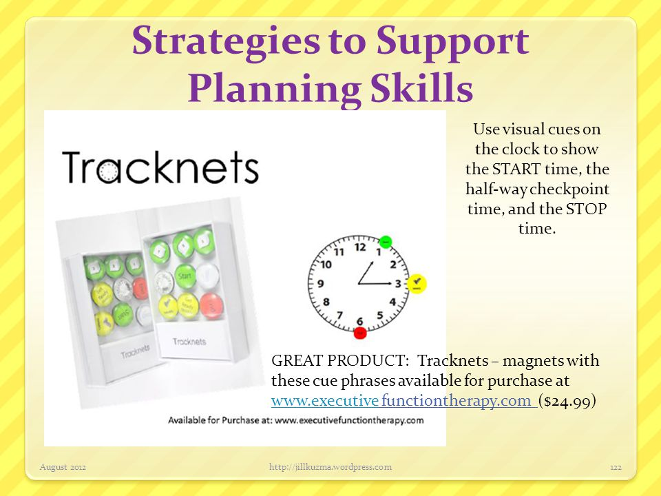 Strategies to Support Planning Skills August 2012http://jillkuzma.wordpress.com122 Use visual cues on the clock to show the START time, the half-way c