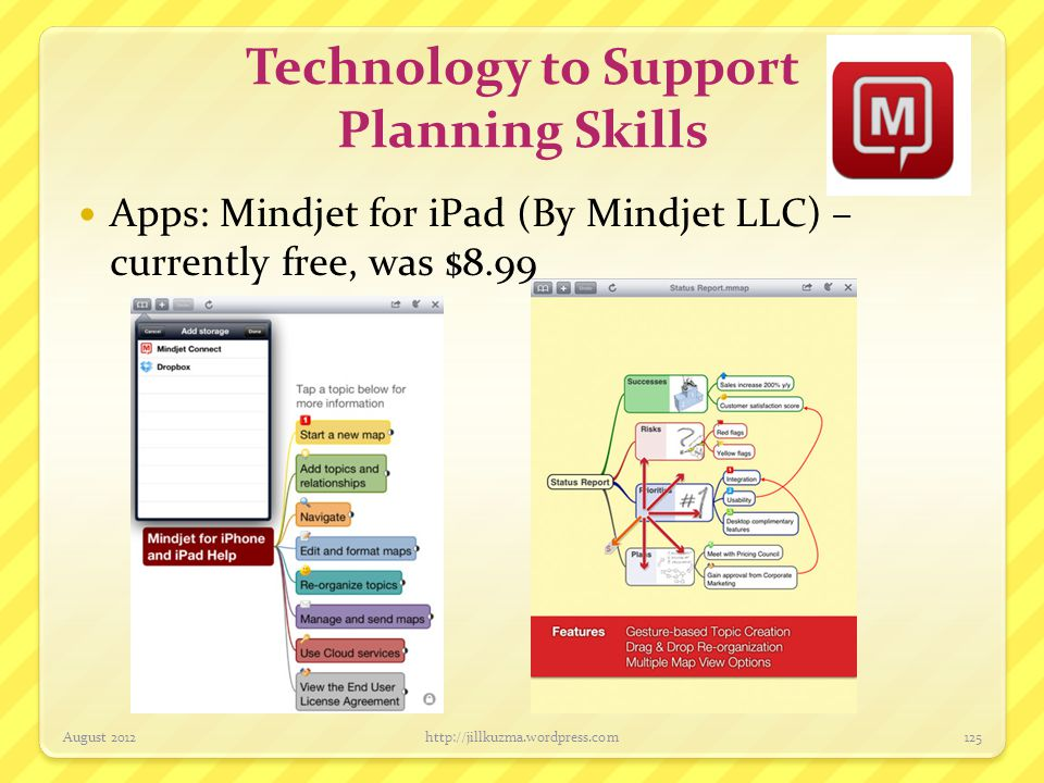 Technology to Support Planning Skills Apps: Mindjet for iPad (By Mindjet LLC) – currently free, was $8.99 August 2012http://jillkuzma.wordpress.com125