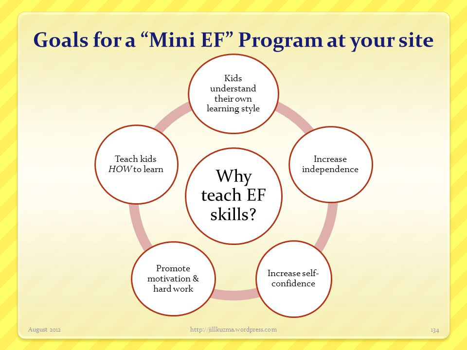 "Goals for a ""Mini EF"" Program at your site Why teach EF skills? Kids understand their own learning style Increase independence Increase self- confiden"