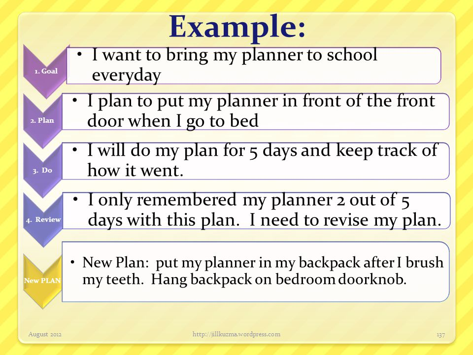 Example: August 2012http://jillkuzma.wordpress.com137 1. Goal I want to bring my planner to school everyday 2. Plan I plan to put my planner in front