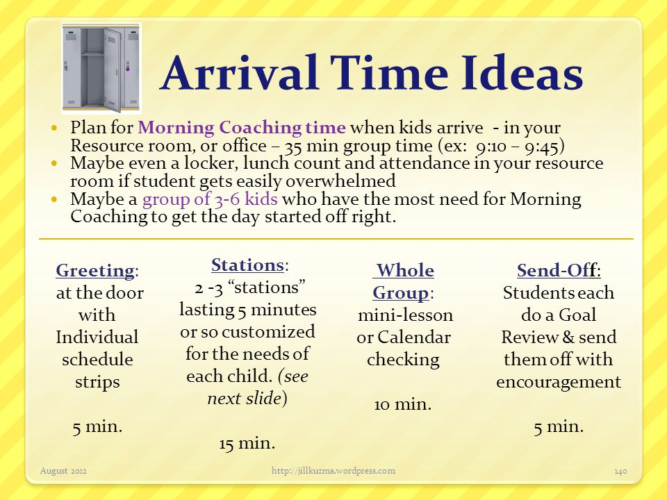 Arrival Time Ideas Plan for Morning Coaching time when kids arrive - in your Resource room, or office – 35 min group time (ex: 9:10 – 9:45) Maybe even