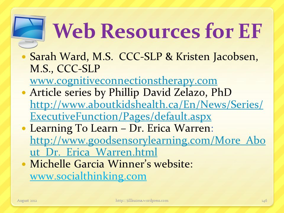 Web Resources for EF Willis, J.A.(2011).