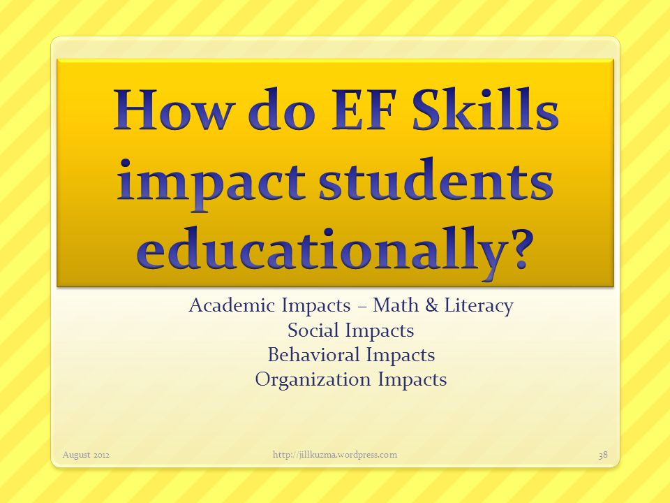 EF deficits impact students academically….