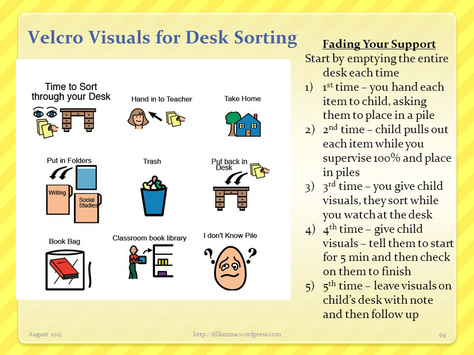 Velcro Visuals for Desk Sorting August 2012http://jillkuzma.wordpress.com94 Fading Your Support Start by emptying the entire desk each time 1)1 st tim