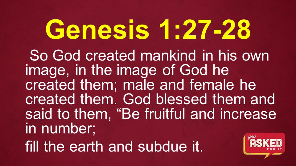 Genesis 1:27-28 So God created mankind in his own image, in the image of God he created them; male and female he created them.