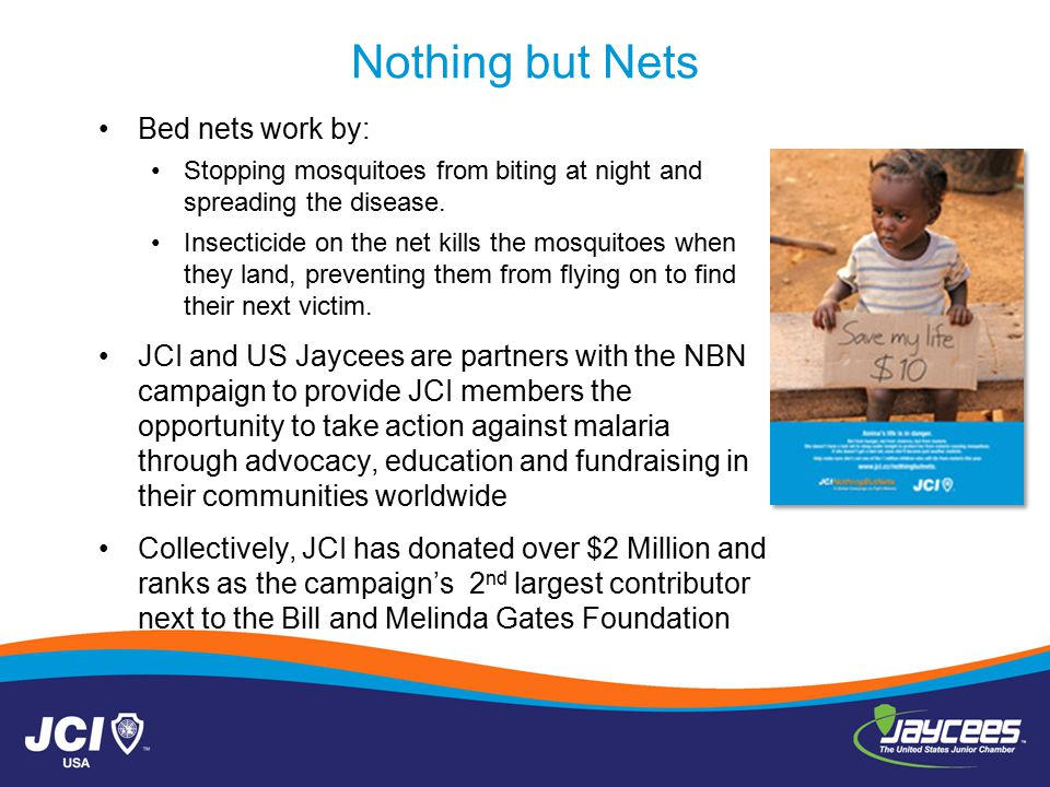 Bed nets work by: Stopping mosquitoes from biting at night and spreading the disease.