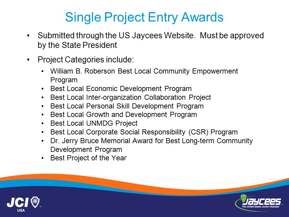 Single Project Entry Awards Submitted through the US Jaycees Website.