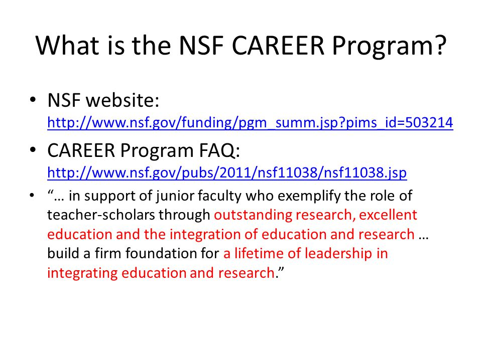 What is the NSF CAREER Program.