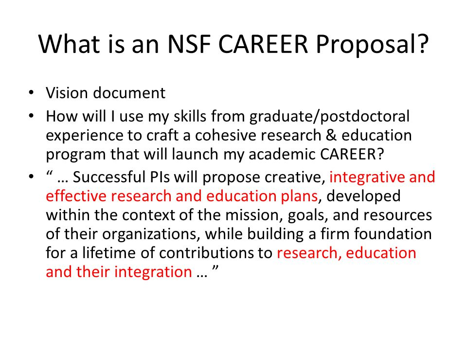 What is an NSF CAREER Proposal.