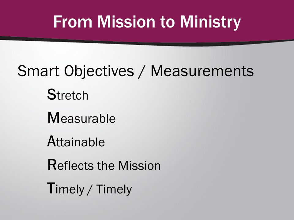 From Mission to Ministry Smart Objectives / Measurements S tretch M easurable A ttainable R eflects the Mission T imely / Timely