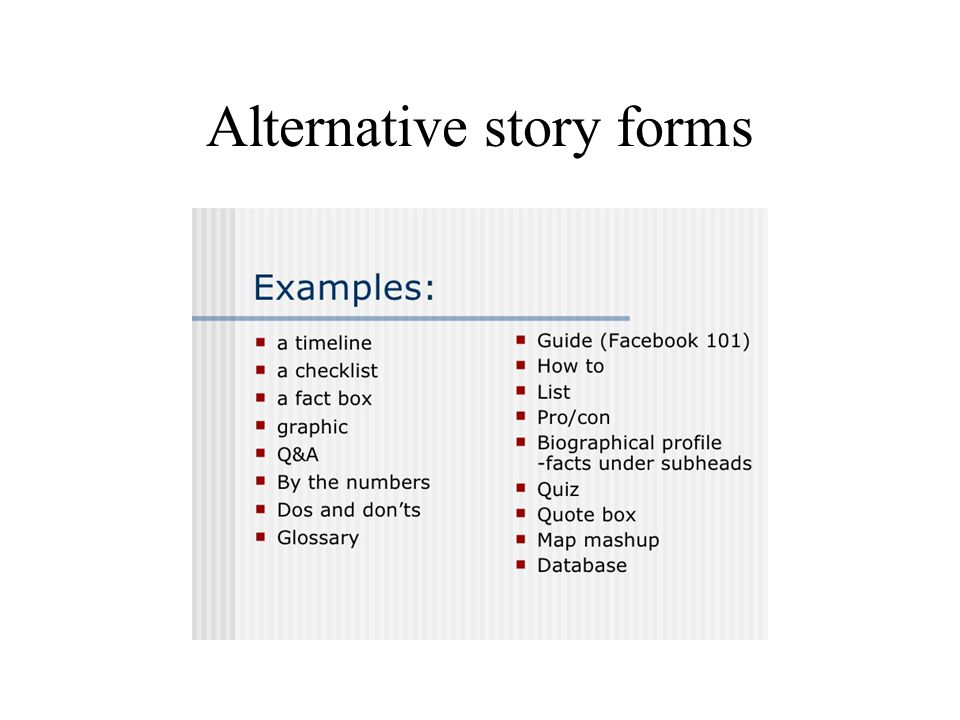 Alternative story forms