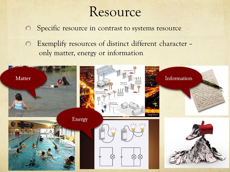 Resource Specific resource in contrast to systems resource Exemplify resources of distinct different character – only matter, energy or information Matter Energy Information