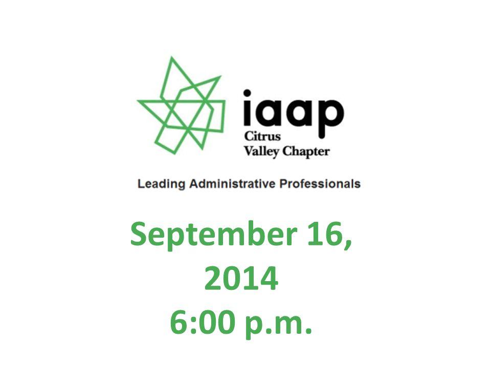 September 16, 2014 6:00 p.m.