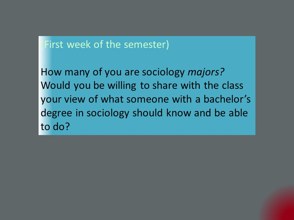 (First week of the semester) How many of you are sociology majors.