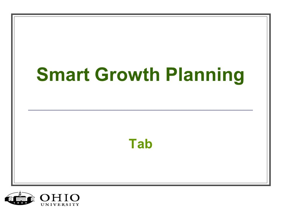 Smart Growth Planning Tab