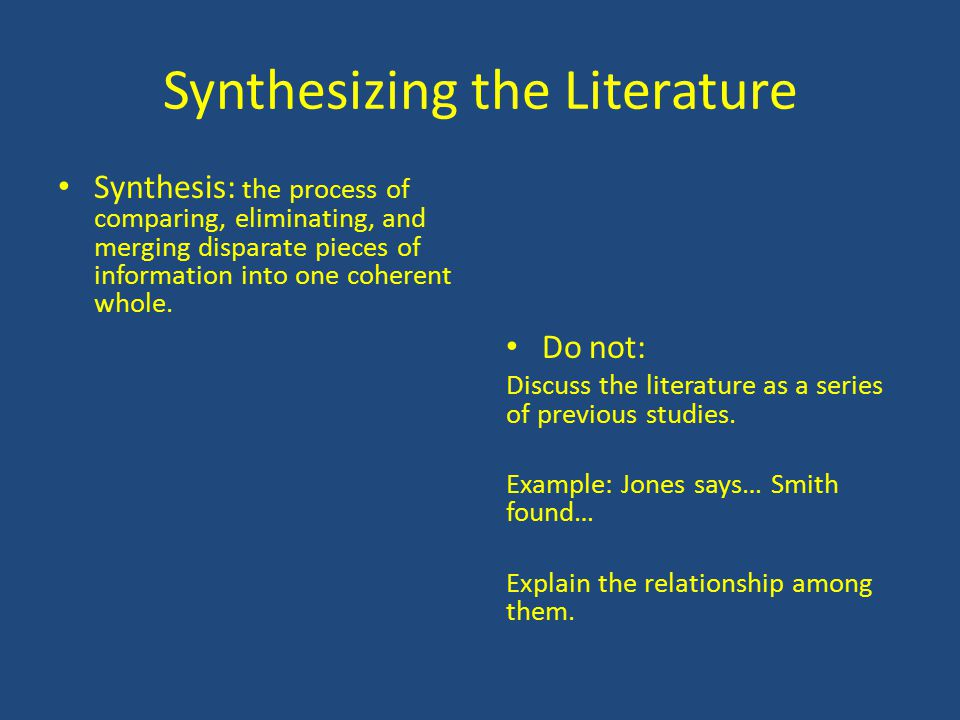 You synthesize the literature when you… Identify relationships among studies Compare & contrast theories, concepts, and research studies Comment on major themes and patterns you discovered Discuss the pros & cons of the issues Explain a conflict or contradiction among different resources Point-out gaps in the literature Note inconsistencies across studies over time Make generalizations across studies Make connections among the sources cited Critique the Literature – do not duplicate it