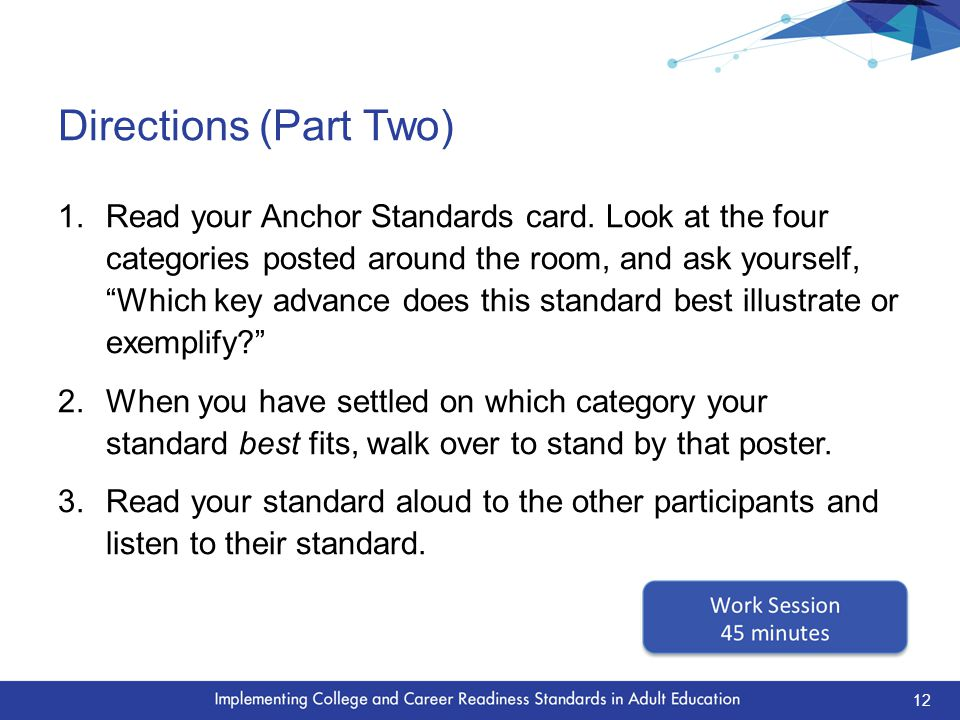 Directions (Part Two) 1.Read your Anchor Standards card.