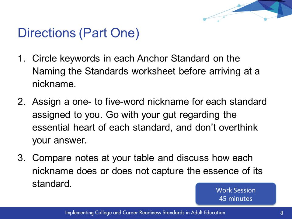 Discussion Questions  What are some of the nicknames created for the standards.